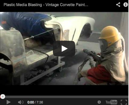 Plastic media blasting quickly removes from paint and coatings from a wide range of surfaces, including fiberglass corvettes.