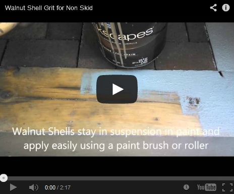 This video highlights adding crushed walnut shell grit to paint for anti-slip surfacing to stairs.