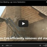 Log home restoration with corn cob blast media.