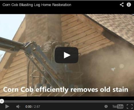 Log home restoration with corn cob blast media.
