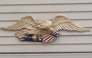 Eagle ornament restored and mounted on home