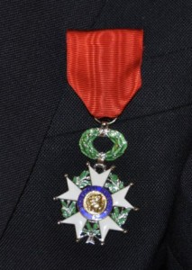 Close up of the French Legion of Honor medal Diamond received.